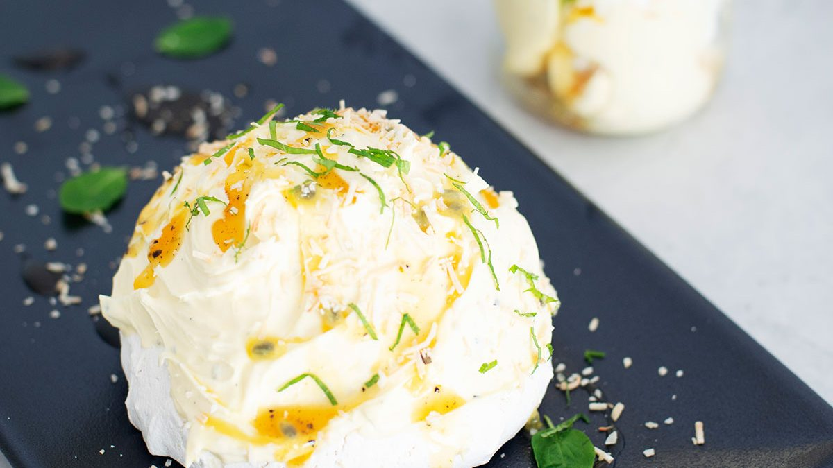 Coconut Pavlova with Passionfruit Jam & Crème Fraîche
