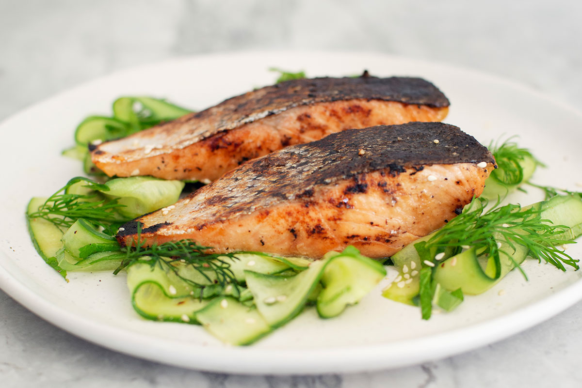 Grilled Miso Salmon with Cucumber & Mint Salad